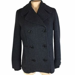 ZARA Navy Full Button Front Short Length Pea Coat